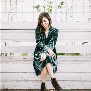 anthropologie green velvet shirt dress